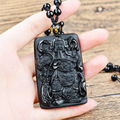 Black Obsidian Carving Guan Yu Natural Stone Pendant Amulets And Talismans Crystal Jewelry For Men
