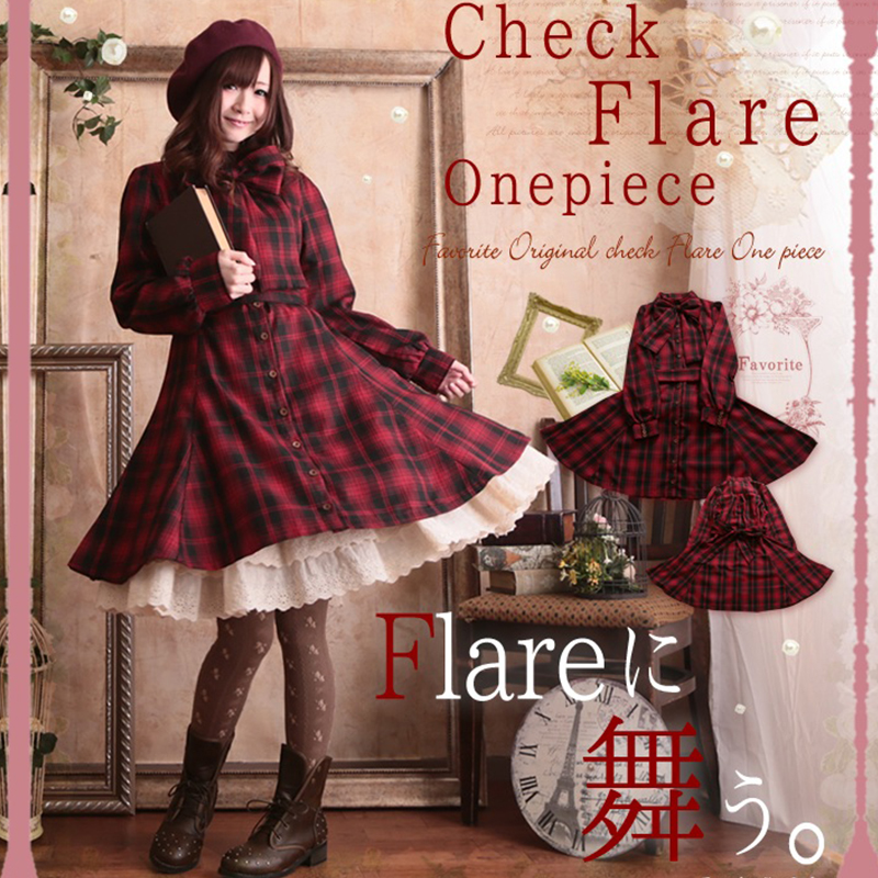Autumn Cute Red Plaid Button Flare Palace Bow Lolita Dress Japanese Sweet Knitting Cotton font b