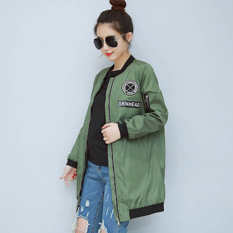 New Spring Army Green Long Bomber   Jacket   Women Fashion Stand Collar   Basic     Jacket   Female Coats Women's Windbreaker Zipper Outwear