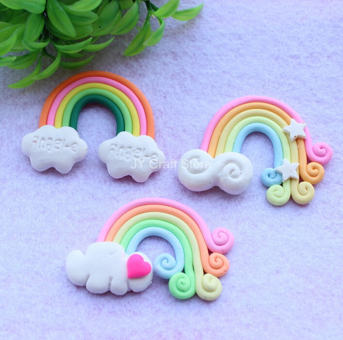 Set Of 15pcs Rainbow Cabochon W/ Cloud Flat Back Kawaii Fimo Cabochon Polymer Clay Cell Phone Decoden Colorful Scrapbooking