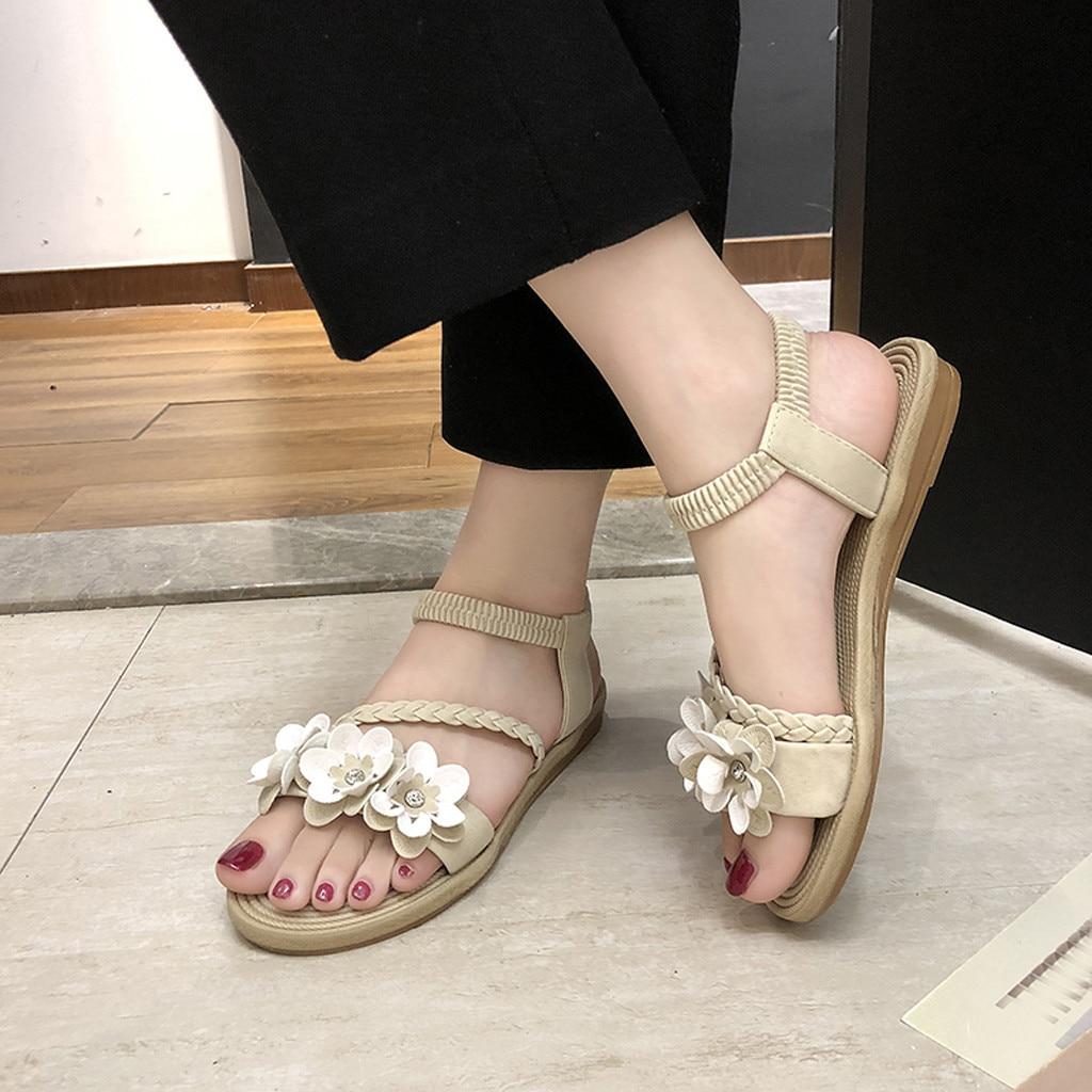 a5c73b3a1edc0c noir Femme 2019 rose De Armure Femmes vert Bohème Décontracté Beige Sandale  Pour Plage Chaussures Fleur ...