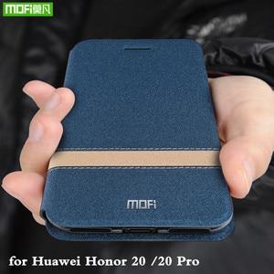 Image 1 - MOFi onur 20 kılıfı için onur 20 Pro kapak Flip konut Huawei 20 Coque TPU PU deri kitap standı folio