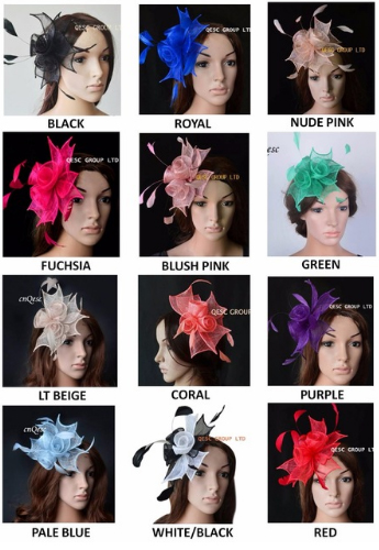 Wholesale NEW 12 multiple color Small Sinamay Fascinator women s hat with Feathers for wedding kentucky