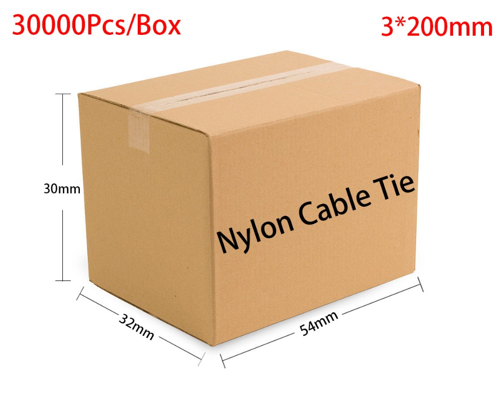30000pcs/Box 3*200 3x200 width 2.5mm Self-Locking White Black Red Blue Yellow Green Nylon Wire Cable Zip Ties.Cable Ties 3 3 300 30000