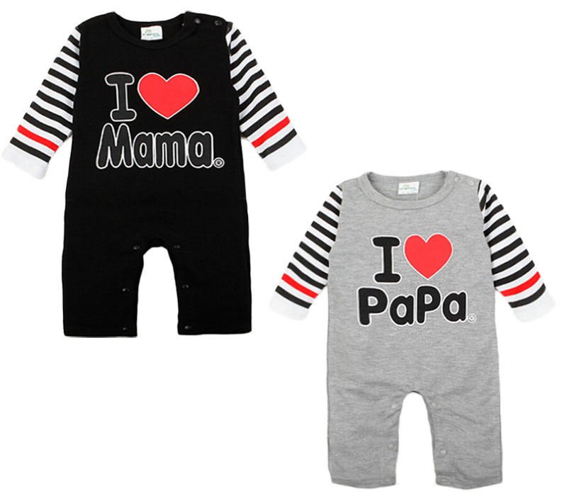 0-1Yrs Baby Newborn Long Sleeve Rompers I LOVE MAMA/PAPA Infant Girls Boys Cotton Romper Baby Stripe Sleeved newborn baby rompers baby clothing 100% cotton infant jumpsuit ropa bebe long sleeve girl boys rompers costumes baby romper