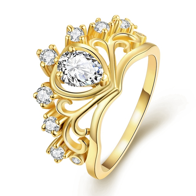 Classic Crown Shape Cubic Zirconia Stone Rings For Women Gold Color Fashion Party Jewelry Best Gift For Girlfriend