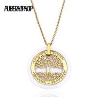Tree Of Life Pendant Necklace Women Jewelry 2017 Fashion Gold Color Stainless Steel Ceramic Necklace Women