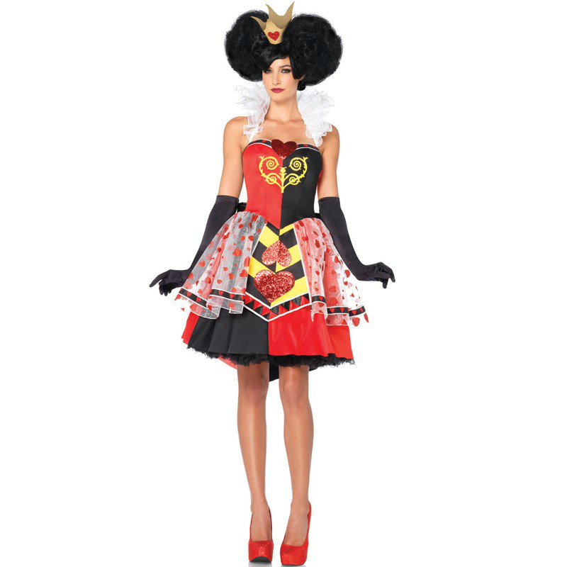 moonight halloween adult womens poker red queen of hearts princess costume fancy game dress alice in wonderland carnival uniform in movie tv costumes from