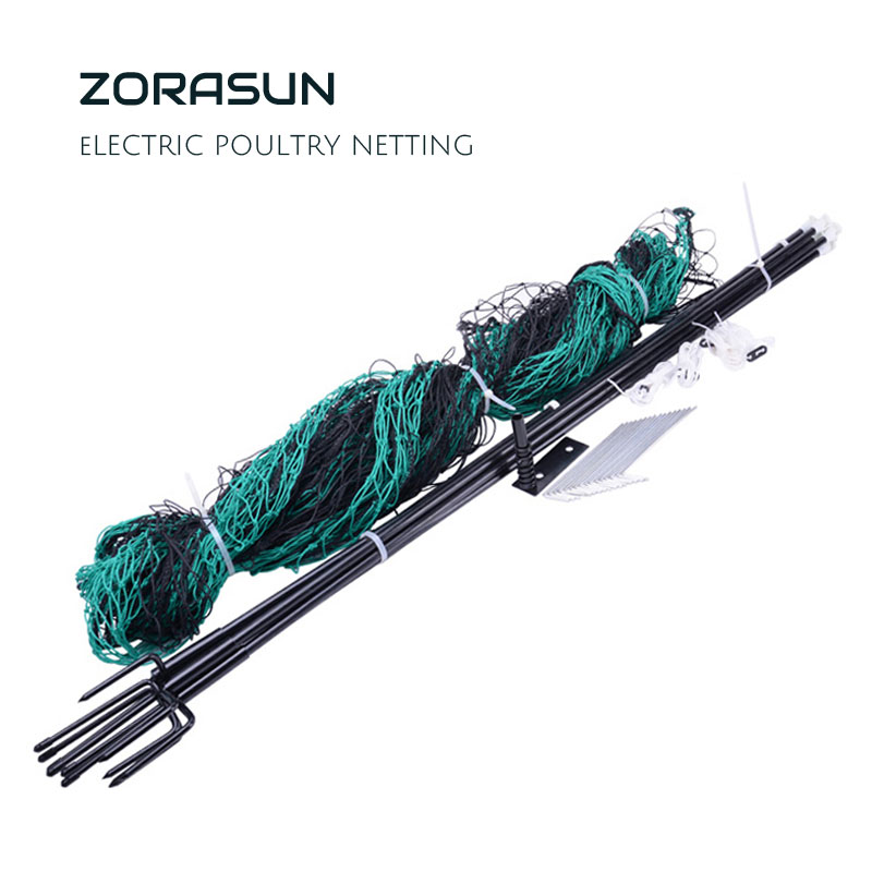ZORASUN Electric Poultry Netting Chicken Net Sheep Goat Netting Electric Fencing Easily Assembled Plastic Mesh Netting 12mx125cm