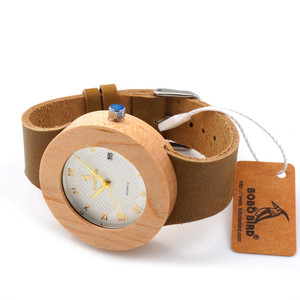 Image 5 - BOBO BIRD Bamboo women Wooden Watches Ladies Round Sport Quartz Wood Watch with Real Leather Strap relojes mujer