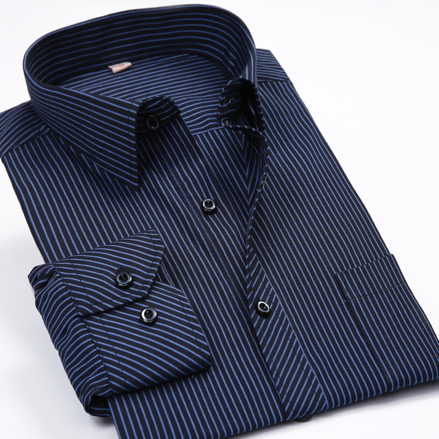 Мода Новый 2017 Мужчин Рубашки Мужчины Полосатый Формальный Рубашка С Длинным рукавом Мужская Марка Вскользь Рубашки Плюс Большой Размер США Размер 5XL 6XL