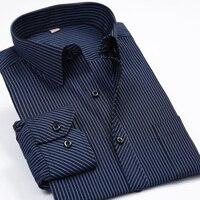 Fashion New 2015 Males Striped Formal Dress Shirt Long Sleeve Mens Brand Casual Shirts Plus Big