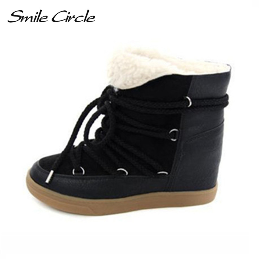 New Winter Boots Women Wedge Sneakers Womens lace up height increases high