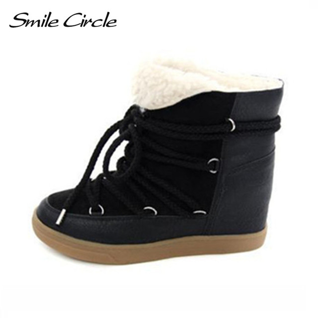 Venda quente 2017 Botas de Inverno Mulheres Sapatos Saltos de Cunha Ocultos botas Mulheres Elevador Sapatos Lace-up Sapatos Casuais Para As Mulheres Tornozelo botas