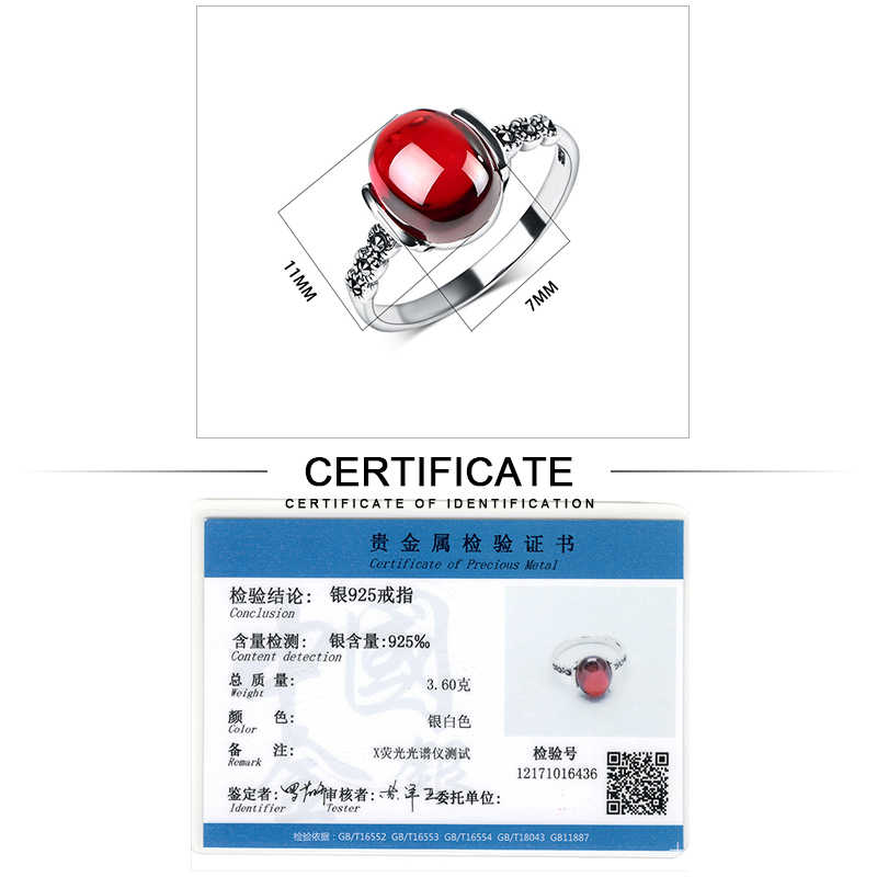 JIASHUNTAI 4 di colore anelli di nozze D'epoca rosso argento 925 anelli per le donne Retro pietra Naturale Anello in argento set gioielli femminili regali
