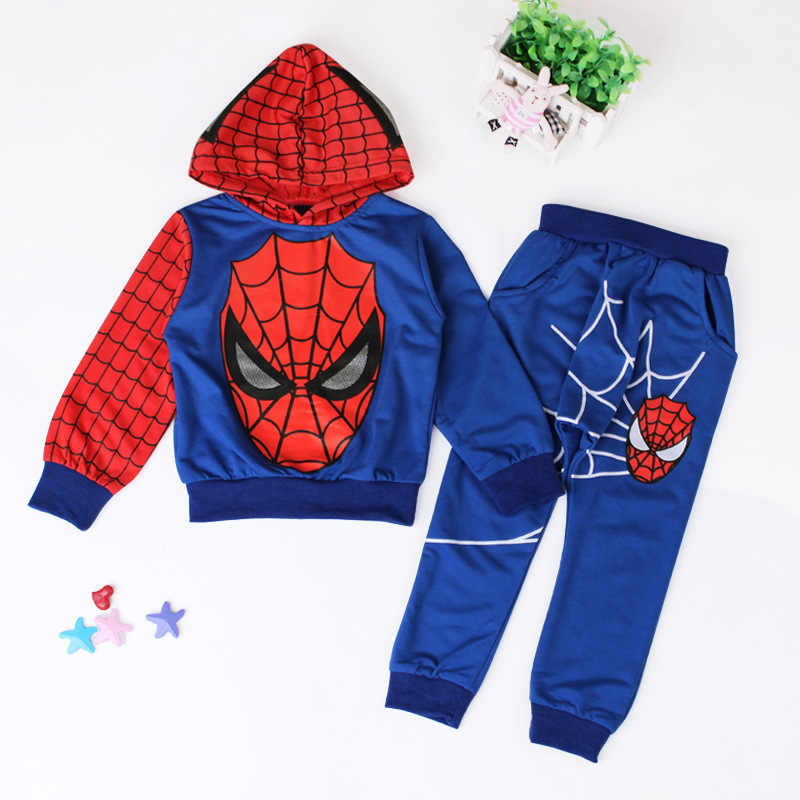Kids Spiderman Costume 2017 New Autumn Winter Cartoon Children Long Sleeve  Coat Sweatshirt Pants Boys Spider a3c104e96