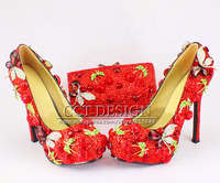 Sexy Ladies Customized Red Rhinestone Cherry High Heels Luxury Diamond Butterfly Wedding Bridal Shoes With Matching