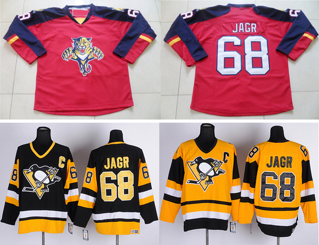 d21adc23d ... discount best quality cheap 68 jaromir jagr jersey color red vintage  black throwback yellow ccm hockey