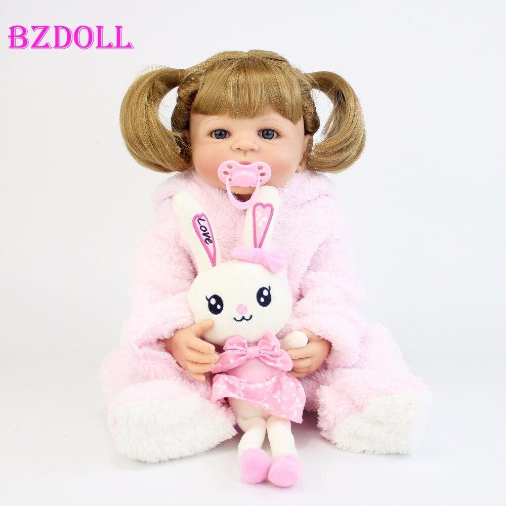 Oyuncaklar ve Hobi Ürünleri'ten Bebekler'de 55 cm Tam Silikon Vinil Vücut Kız Yeniden Doğmuş Bebekler Bebek Bebe Canlı Canlı Banyo Oyuncaklar doğum günü hediyesi Prenses Sarışın Yürümeye Başlayan Bebek'da  Grup 1