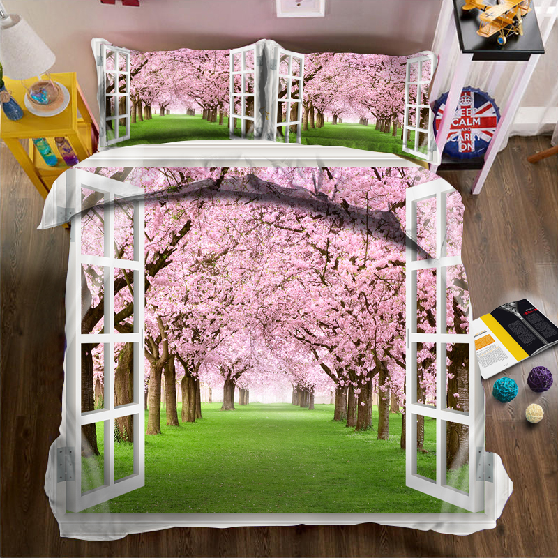 Big tree full of pink flowers on the lawn outside the window 3d effect photo bed linen can be customized photo patternBig tree full of pink flowers on the lawn outside the window 3d effect photo bed linen can be customized photo pattern