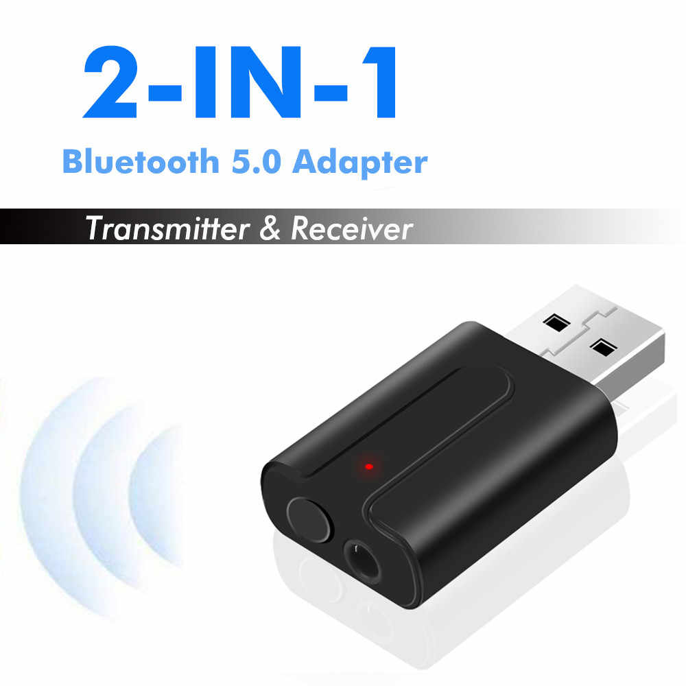 2 in 1 Bluetooth V5.0 Car kit Transmitter Receiver 3.5mm AUX USB Wireless Adapter Stereo Muisc audio Adaptador For TV PC Speaker