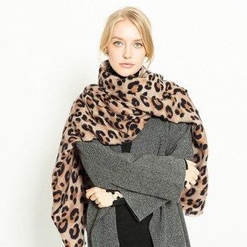 2018 Winter Women Scarf Warm Leopard Printed Wool Long Shawl Soft Long Neck Scarf Fashion Ladies Warp Scarf Платье
