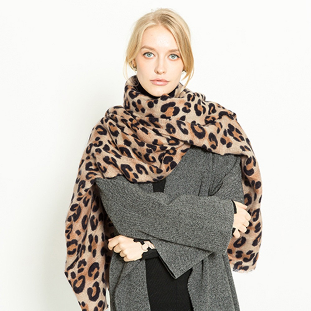 2018 Winter Women Scarf Warm Leopard Printed Wool Long Shawl Soft Long Neck Scarf Fashion Ladies Warp Scarf floral chiffon dress long sleeve