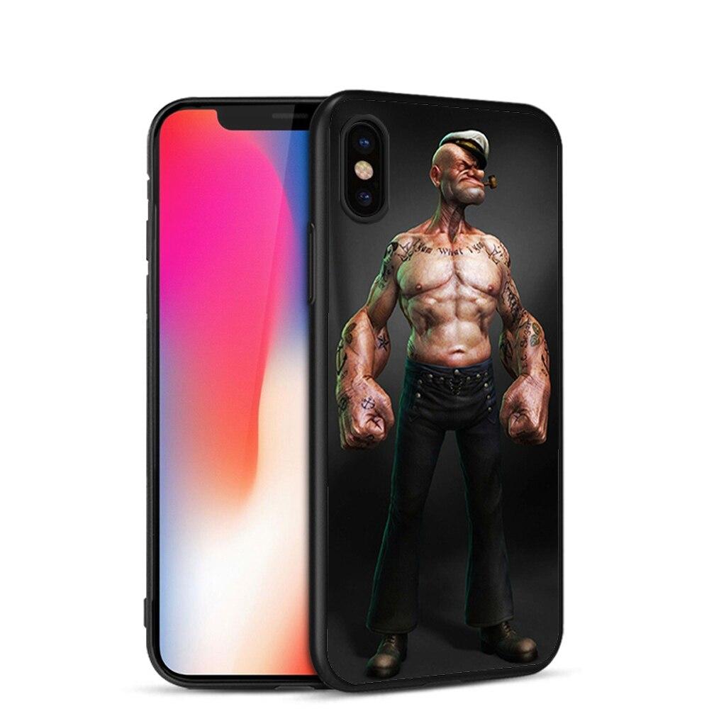 Minason Phone Cover For iphone 7 7plus 8 8plus X Popeye Cartoon Case For iphone 5 5s SE 6 s 6S Plus TPU Phone Cases