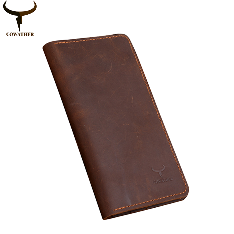 COWATHER high quality cow genuine Crazy horse leather men wallets 2017 long style two color fashion male purse 103 free shipping