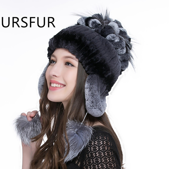 URSFUR Winter Women Hats Real Rex Rabbit Fur Hat Ear Protector Caps with Fur Flower Ball Pom Poms Female Knitted Bomber Fur Hat