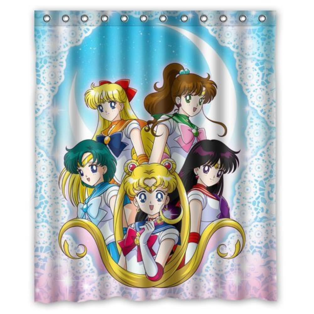 Custom Sailor Moon Shower Curtain Pattern Customized Shower Curtain Waterproof Bathroom Fabric Shower Curtain For Bathroom