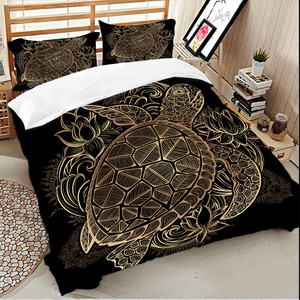 Image 2 - Wongs bedding Turtles Bedding Set Duvet Animal Golden Tortoise Bed Cover Set Queen Sizes Flowers Lotus Home Textiles 3pcs Luxury