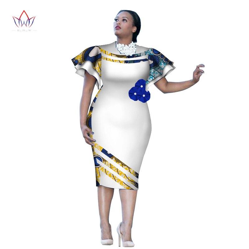 Robe de genou à manches courtes imprimé africain personnalisé robe d'été femmes fête robes de grande taille vêtements africains 6XL BRW WY2409