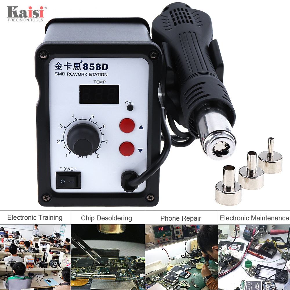 New Kaisi-858D 220V 700W SMD Hot-Air Soldering Station Support LED Digital Display and Controllable Temperature + 3 Air Nozzles digital indoor air quality carbon dioxide meter temperature rh humidity twa stel display 99 points made in taiwan co2 monitor