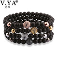 V.YA Fashion Watch Bracelets Men Natural Stone Beads Bracelet for Man With Amazing Rhinestone Bead Cool Man Jewelry