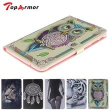 TopArmor планшеты чехол для Samsung Galaxy Tab E 9,6 T560 SM-T560 сексуальная девушка тигр, Лев, сова Обложка с рисунком с держатель для карт