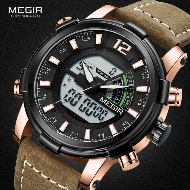 Megir mannen Sport Quartz Horloges Back Light Multiple Time Zone Chronograaf Polshorloge Man LED Lederen Band Week 2089g Rose