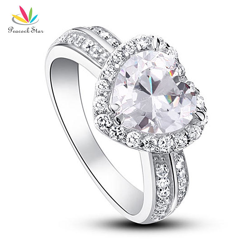 Павлин звезда 2 карат в форме сердца серебро 925 пробы Свадебные для годовщины помолвки кольцо ювелирные изделия CFR8011