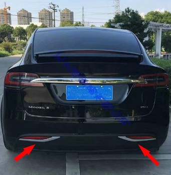 Dla Tesla Model X 2016 2017 2018 ABS Chrome tylny reflektor światła przeciwmgielne lampy pokrywa wykończenia rama Bezel dekoracji stylizacji