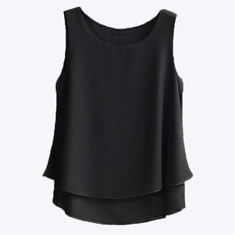 Summer Tops Women's Blouse New Arrival 2020 Summer Sleeveless O-Neck Chiffon Blouse Plus Size 5XL 4XL Casual Shirt For Girl Shir