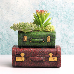 Walizka w stylu vintage kwiat Pot żywica soczyste roślin uchwyt na garnki ogród Bonsai dekoracja do przydomowego ogrodu Doniczki i skrzynki do kwiatów Dom i ogród -