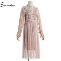 Smmoloa Frauen Kleid Frühlingsmode Vintage Spitze Stickerei Mesh Kleider 2 Stück Sets (nur khaki ist auf lager)