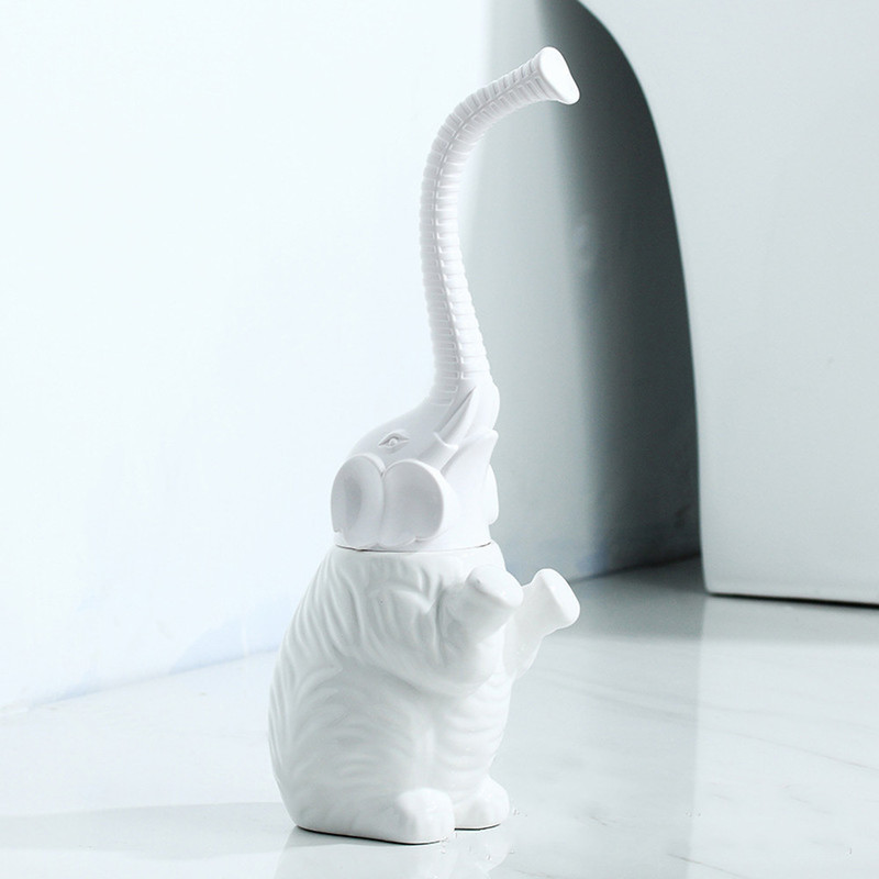 Soft Hair Toilet Toilet Brush Set Ceramic Base Plastic Handle Elephant Shape Bathroom Supplies  Lo811436