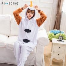 Купить с кэшбэком Snowman Pajamas White Brown Cartoon Costume Men Women Anime Cosplay Winter Sleep Party Jumpsuit Snow Play Funny Home Wear Warm