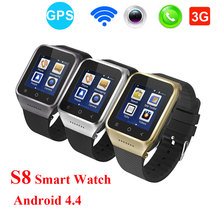 2017 NEW Android 4.4 S8 Smart Watch Supports GSM 3G WCDMA Wristwatch BT4.0 Wifi Camera GPS SmartWatch Call Phone PK Q18