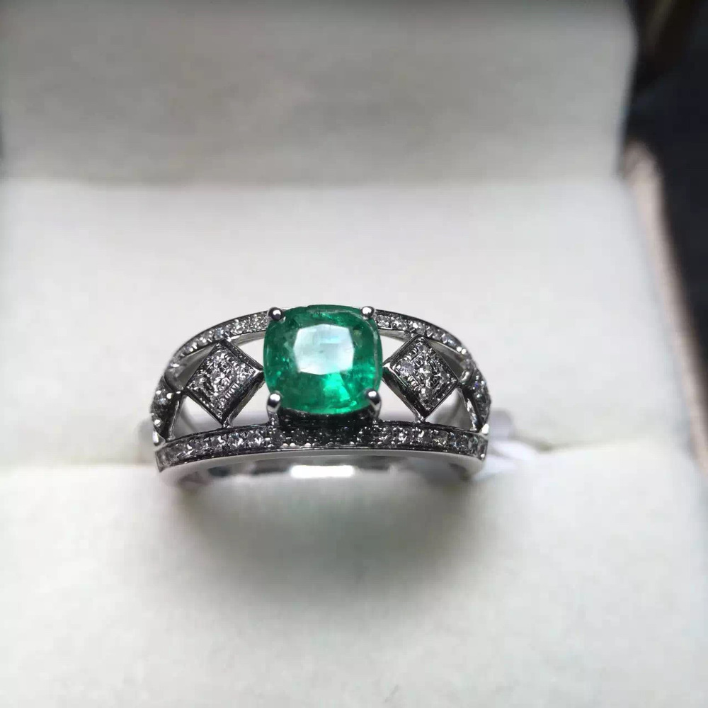 5.8*5.8mm 0.8ct gold 3.34g fine jewelry perfect 18k gold perfect highest grade green emerald ring wedding ring