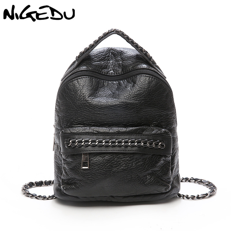 NIGEDU Female Backpack Fashion Mini Chain Backpack Small Black Travel School Bags Teenage Girls Soft Pu Leather Shoulder Bag