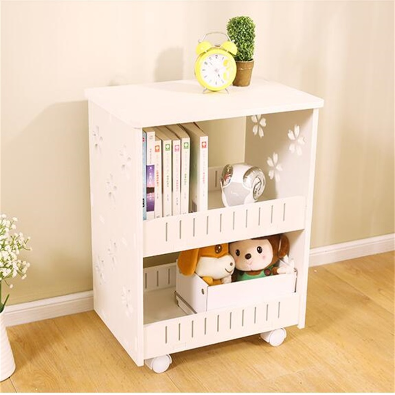 Modern Bookshelf Double Layer Bookcase Storage Rack Wood Bedside Table Sofa  Side Table Living Room