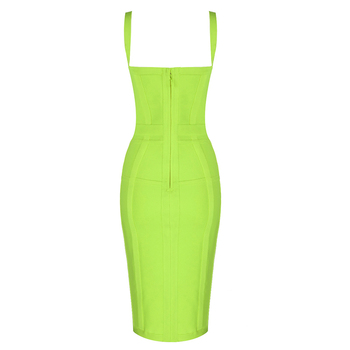 Free Shipping Plus Size XL Sexy Sleeveless V Neck GreenYellow Bandage Dress 2020 Designer Fashion Party Dress Vestido 5