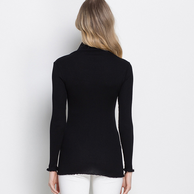 Women pullovers 80%Natural Silk 20%Cotton Turtleneck Rib knits shirt long sleeved Solid sweater Basic top 2018 Fall Winter